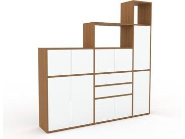Aktenschrank Weiß - Büroschrank: Schubladen in Weiß & Türen in Weiß - Hochwertige Materialien - 190 x 195 x 35 cm, Modular