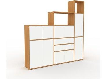 Aktenschrank Eiche - Büroschrank: Schubladen in Weiß & Türen in Weiß - Hochwertige Materialien - 190 x 195 x 35 cm, Modular