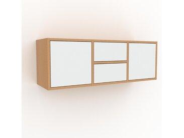 Hängeschrank Weiß - Wandschrank: Schubladen in Weiß & Türen in Weiß - 118 x 41 x 35 cm, konfigurierbar