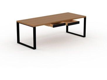 Schreibtisch Massivholz Eiche - Moderner Massivholz-Schreibtisch: mit 2 Schublade/n - Hochwertige Materialien - 220 x 75 x 90 cm, konfigurierbar
