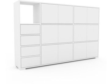 Aktenschrank Weiß - Büroschrank: Schubladen in Weiß & Türen in Weiß - Hochwertige Materialien - 190 x 120 x 35 cm, Modular