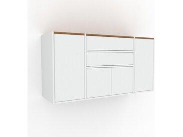 Hängeschrank Weiß - Wandschrank: Schubladen in Weiß & Türen in Weiß - 154 x 80 x 47 cm, konfigurierbar