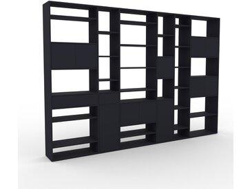 Wohnwand Anthrazit - Individuelle Designer-Regalwand: Schubladen in Anthrazit & Türen in Anthrazit - Hochwertige Materialien - 342 x 233 x 35 cm, Konfigurator