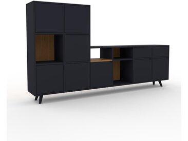TV-Schrank Anthrazit - Fernsehschrank: Schubladen in Anthrazit & Türen in Anthrazit - 233 x 130 x 35 cm, konfigurierbar