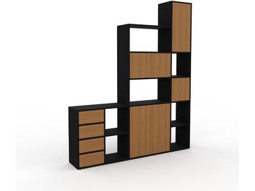 Regalsystem Schwarz - Regalsystem: Schubladen in Eiche & Türen in Eiche - Hochwertige Materialien - 193 x 233 x 35 cm, konfigurierbar