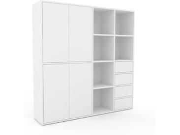 Wohnwand Weiß - Individuelle Designer-Regalwand: Schubladen in Weiß & Türen in Weiß - Hochwertige Materialien - 154 x 157 x 35 cm, Konfigurator