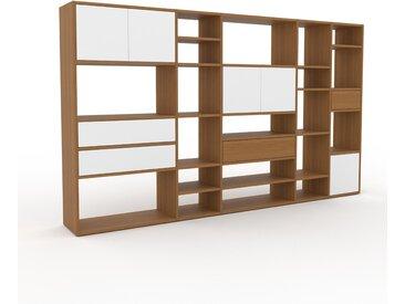 Regalsystem Eiche - Regalsystem: Schubladen in Weiß & Türen in Weiß - Hochwertige Materialien - 267 x 157 x 35 cm, konfigurierbar