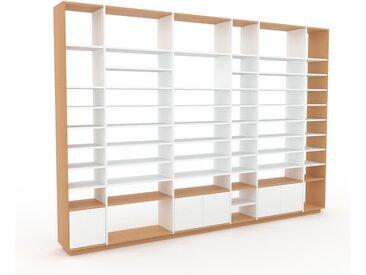 Bibliotheksregal Weiß - Individuelles Regal für Bibliothek: Türen in Weiß - 342 x 239 x 35 cm, konfigurierbar