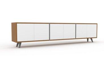 TV-Schrank Eiche - Moderner Fernsehschrank: Türen in Weiß - 226 x 53 x 35 cm, konfigurierbar