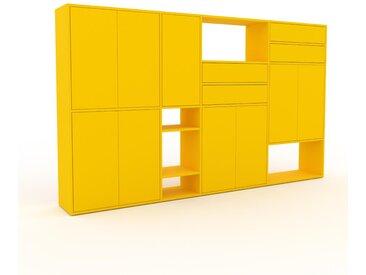 Schrankwand Gelb - Moderne Wohnwand: Schubladen in Gelb & Türen in Gelb - Hochwertige Materialien - 265 x 157 x 35 cm, Konfigurator