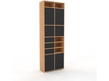 Hochschrank Graphitgrau - Moderner Schrank: Schubladen in Graphitgrau & Türen in Graphitgrau - Hochwertige Materialien - 79 x 235 x 35 cm, konfigurierbar