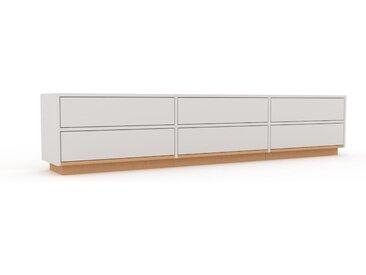 Lowboard Weiß - Designer-TV-Board: Schubladen in Weiß - Hochwertige Materialien - 226 x 47 x 35 cm, Komplett anpassbar