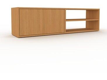 Lowboard Eiche - Designer-TV-Board: Türen in Eiche - Hochwertige Materialien - 152 x 41 x 35 cm, Komplett anpassbar