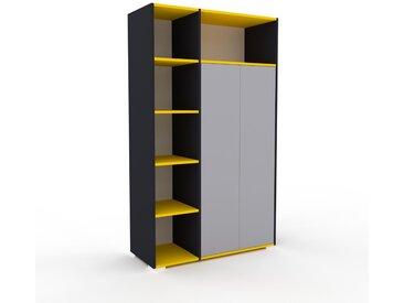 Schrank Weiß - Moderner Schrank: Türen in Lichtgrau - Hochwertige Materialien - 116 x 196 x 47 cm, Selbst zusammenstellen