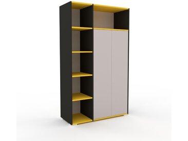 Schrank Weiß - Moderner Schrank: Türen in Hellgrau - Hochwertige Materialien - 116 x 196 x 47 cm, Selbst zusammenstellen