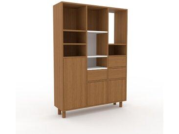 Holzregal Eiche - Modernes Regal aus Holz: Schubladen in Eiche & Türen in Eiche - 118 x 168 x 35 cm, Personalisierbar