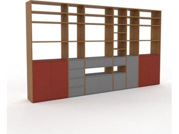 Bibliotheksregal Grau - Modernes Regal für Bibliothek: Schubladen in Grau & Türen in Terrakotta - 342 x 195 x 35 cm, konfigurierbar
