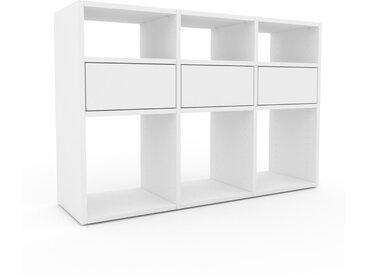Schallplattenregal Weiß - Modernes Regal für Schallplatten: Schubladen in Weiß - 118 x 80 x 35 cm, Selbst designen