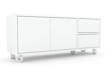 Rollcontainer Weiß - Rollcontainer: Schubladen in Weiß & Türen in Weiß - 116 x 49 x 35 cm, konfigurierbar