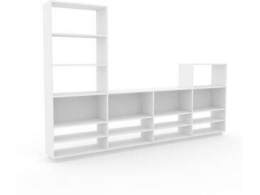 Wohnwand Weiß - Individuelle Designer-Regalwand: Hochwertige Qualität, einzigartiges Design - 301 x 200 x 35 cm, Konfigurator