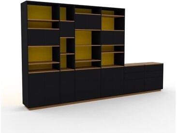 Wohnwand Schwarz - Individuelle Designer-Regalwand: Schubladen in Schwarz & Türen in Schwarz - Hochwertige Materialien - 414 x 239 x 47 cm, Konfigurator
