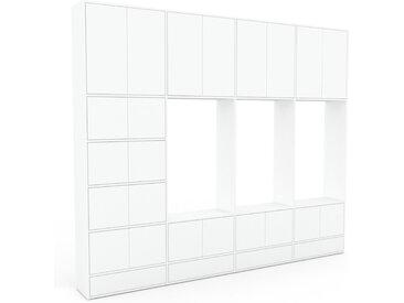 Schrankwand Weiß - Moderne Wohnwand: Schubladen in Weiß & Türen in Weiß - Hochwertige Materialien - 301 x 253 x 35 cm, Konfigurator
