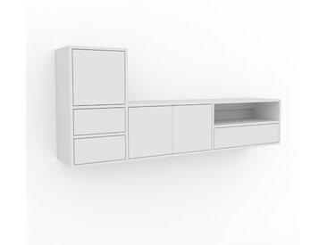 Hängeschrank Weiß - Wandschrank: Schubladen in Weiß & Türen in Weiß - 190 x 80 x 35 cm, konfigurierbar