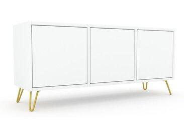 Lowboard Weiß, Goldfüße - Designer-TV-Board: Türen in Weiß - Hochwertige Materialien - 118 x 53 x 35 cm, Komplett anpassbar