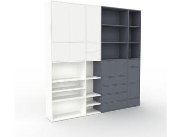 Wohnwand Anthrazit - Individuelle Designer-Regalwand: Schubladen in Anthrazit & Türen in Weiß - Hochwertige Materialien - 229 x 233 x 35 cm, Konfigurator