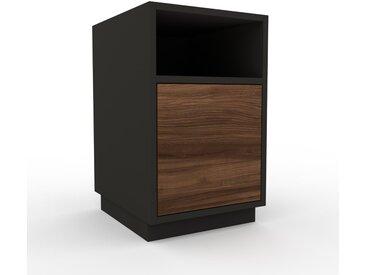 Nachtschrank Graphitgrau - Eleganter Nachtschrank: Schubladen in Nussbaum - Hochwertige Materialien - 41 x 66 x 47 cm, konfigurierbar