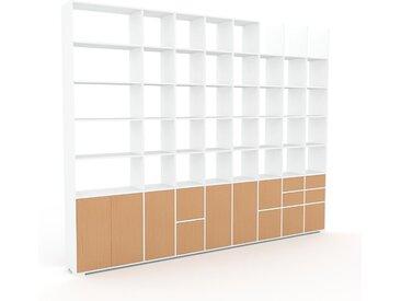 Wohnwand Buche - Individuelle Designer-Regalwand: Schubladen in Buche & Türen in Buche - Hochwertige Materialien - 347 x 273 x 35 cm, Konfigurator