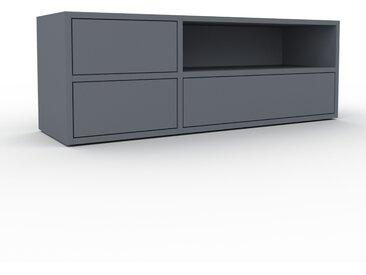 Lowboard Anthrazit - Designer-TV-Board: Schubladen in Anthrazit - Hochwertige Materialien - 116 x 41 x 35 cm, Komplett anpassbar