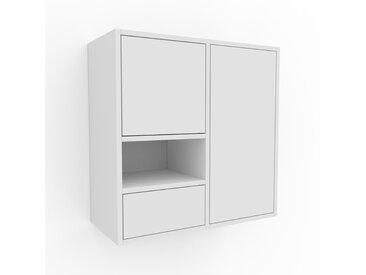Hängeschrank Weiß - Wandschrank: Schubladen in Weiß & Türen in Weiß - 79 x 80 x 35 cm, konfigurierbar