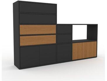 Schrankwand Graphitgrau - Moderne Wohnwand: Schubladen in Graphitgrau & Türen in Graphitgrau - Hochwertige Materialien - 190 x 118 x 35 cm, Konfigurator