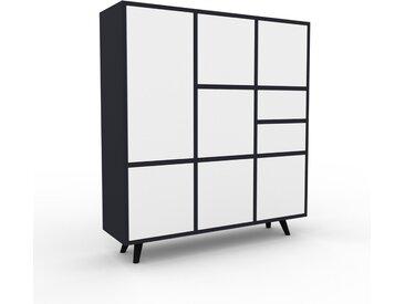 Highboard Anthrazit - Highboard: Schubladen in Weiß & Türen in Weiß - Hochwertige Materialien - 118 x 130 x 35 cm, Selbst designen