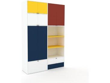 Schrankwand Weiß - Moderne Wohnwand: Schubladen in Weiß & Türen in Gelb - Hochwertige Materialien - 152 x 234 x 47 cm, Konfigurator