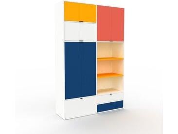 Schrankwand Weiß - Moderne Wohnwand: Schubladen in Weiß & Türen in Weiß - Hochwertige Materialien - 152 x 234 x 47 cm, Konfigurator
