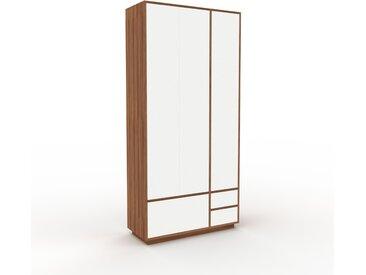 Hochschrank Weiß - Moderner Schrank: Schubladen in Weiß & Türen in Weiß - Hochwertige Materialien - 116 x 239 x 47 cm, konfigurierbar
