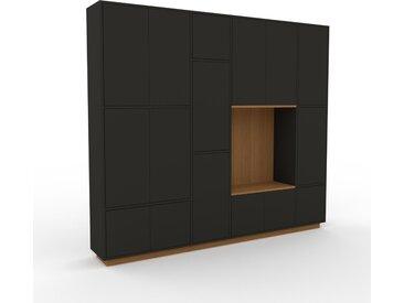 Schrankwand Graphitgrau - Moderne Wohnwand: Türen in Graphitgrau - Hochwertige Materialien - 229 x 200 x 35 cm, Konfigurator