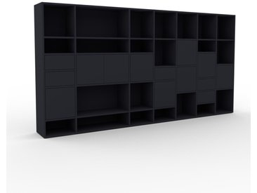 Schrankwand Anthrazit - Moderne Wohnwand: Schubladen in Anthrazit & Türen in Anthrazit - Hochwertige Materialien - 308 x 157 x 35 cm, Konfigurator
