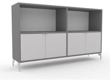 Aktenregal Weiß - Flexibles Büroregal: Türen in Hellgrau - Hochwertige Materialien - 152 x 91 x 35 cm, konfigurierbar