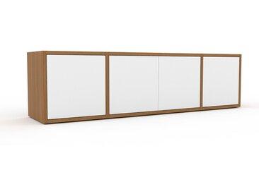 Sideboard Eiche - Designer-Sideboard: Türen in Weiß - Hochwertige Materialien - 154 x 41 x 35 cm, Individuell konfigurierbar