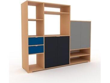 Holzregal Buche - Modernes Regal aus Holz: Schubladen in Blau & Türen in Anthrazit - 190 x 158 x 47 cm, Personalisierbar