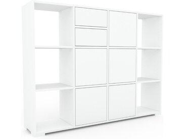 Aktenschrank Weiß - Büroschrank: Schubladen in Weiß & Türen in Weiß - Hochwertige Materialien - 156 x 120 x 35 cm, Modular