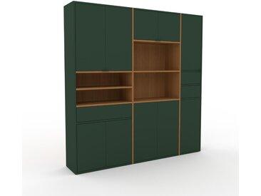 Schrank Waldgrün - Moderner Schrank: Schubladen in Waldgrün & Türen in Waldgrün - Hochwertige Materialien - 190 x 195 x 35 cm, konfigurierbar