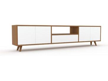 Lowboard Weiß - TV-Board: Schubladen in Weiß & Türen in Weiß - Hochwertige Materialien - 226 x 53 x 35 cm, Komplett anpassbar