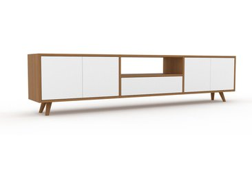 Lowboard Eiche - TV-Board: Schubladen in Weiß & Türen in Weiß - Hochwertige Materialien - 226 x 53 x 35 cm, Komplett anpassbar