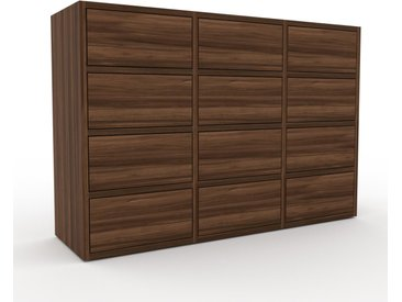 Schrankwand Nussbaum - Moderne Wohnwand: Schubladen in Nussbaum - Hochwertige Materialien - 118 x 80 x 35 cm, Konfigurator