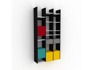 Hängeschrank Weiß - Wandschrank: Schubladen in Grau & Türen in Gelb - 118 x 233 x 35 cm, konfigurierbar