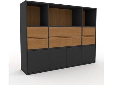 Aktenschrank Eiche - Büroschrank: Schubladen in Eiche & Türen in Graphitgrau - Hochwertige Materialien - 154 x 118 x 35 cm, Modular